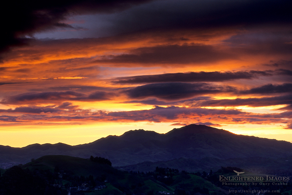 Storm clouds at sunrise over Mt. Diablo, from Lafayette Contra Costa County, CALIFORNIA