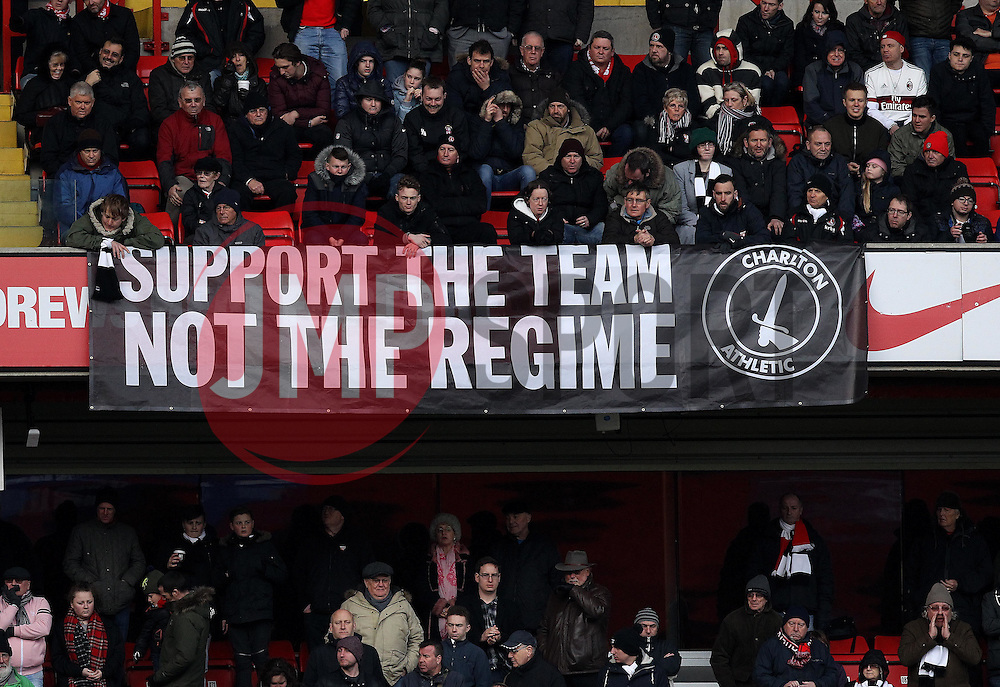 Charlton Athletic fans protest against the ownership of their club - Mandatory byline: Robbie Stephenson/JMP - 06/02/2016 - FOOTBALL - The Valley - Charlton, England - Charlton Athletic v Bristol City - Sky Bet Championship