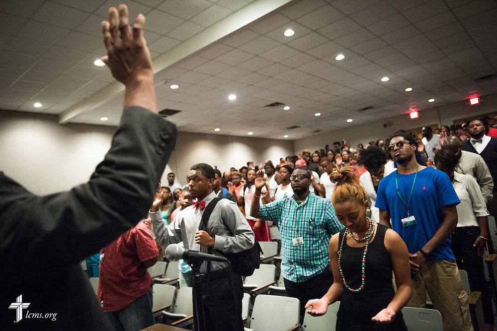 The Rev. LaVaughn Wiggins, campus chaplain, leads in prayer during daily chapel service at Concordia College Alabama on Wednesday, August 20, 2014, in Selma, Ala.  LCMS Communications/Erik M. Lunsford