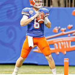 Jan 2, 2013; New Orleans, LA, USA; Florida Gators quarterback Jeff Driskel (6) before the Sugar Bowl against the Louisville Cardinals at the Mercedes-Benz Superdome. Louisville defeated Florida 33-23. Mandatory Credit: Derick E. Hingle-USA TODAY Sports