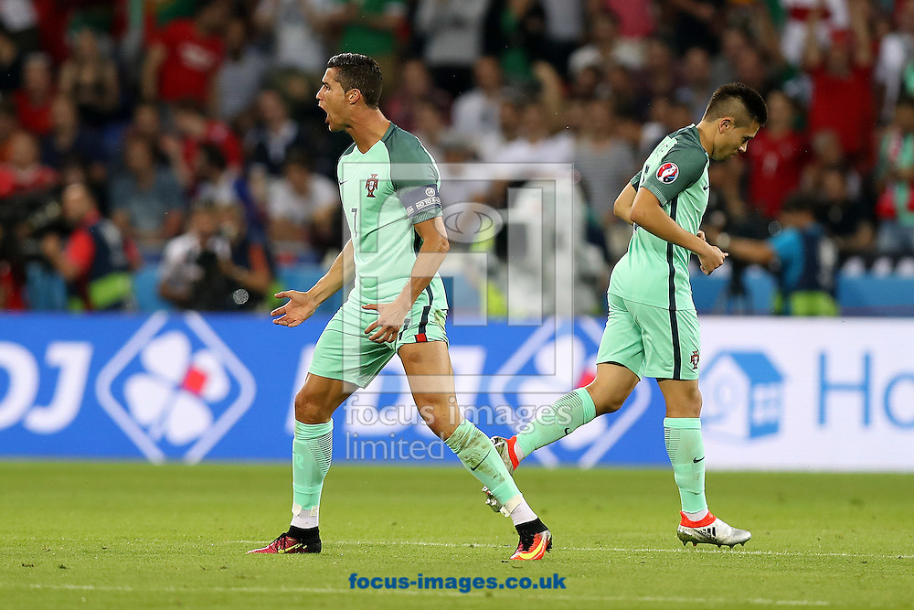 Cristiano Ronaldo of Portugal celebrates scoring his side&rsquo;s 1st goal during the UEFA Euro 2016 semi-final match at Stade de Lyons, Lyons<br /> Picture by Paul Chesterton/Focus Images Ltd +44 7904 640267<br /> 06/07/2016