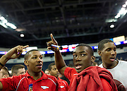 Ugo Onwuzurike celebrates during Allen High School's football state championship community celebration at the Allen Event Center on Wednesday, January 30, 2013 in Allen, Texas. (Cooper Neill/The Dallas Morning News)