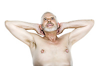 caucasian man portrait relaxing isolated studio on white background