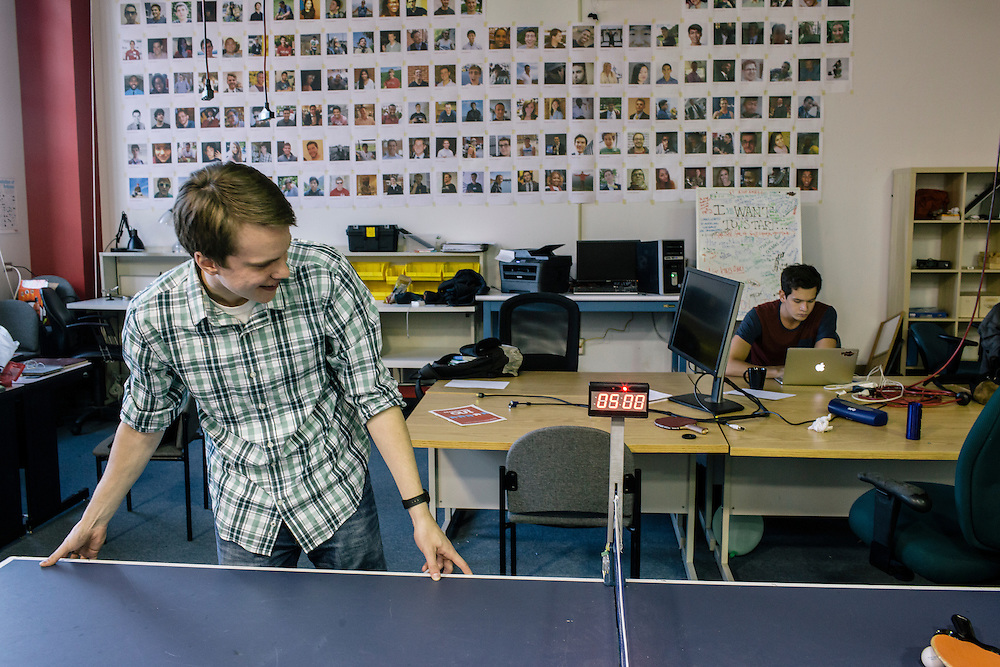 University of Maryland sophomore and incoming director of Startup Shell, Chris Szeluga,  turns on the new scoreboard, built by members, for the ping pong table at the Startup Shell headquarters on the University of Maryland campus on April 1, 2015. Startup Shell is a not for profit company run entirely by and for students at UMD. Entrepreneurial students from all different disciplines apply to join and if accepted, can work on their innovative project with others collaborating and learning from one another.