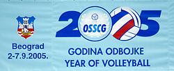 02-09-2005 VOLLEYBAL: NEDERLAND-GRIEKENLAND: EUROPEES KAMPIOENSCHAP<br /> De Nederlandse volleyballers zijn slecht begonnen aan het EK. In het eerste pouleduel in Belgrado werd met 2-3 (20-25, 25-15, 25-23, 21-25, 10-15) verloren van het vooraf zwakker geachte Griekenland / EK 2005 logo<br /> ©2005-WWW.FOTOHOOGENDOORN.NL