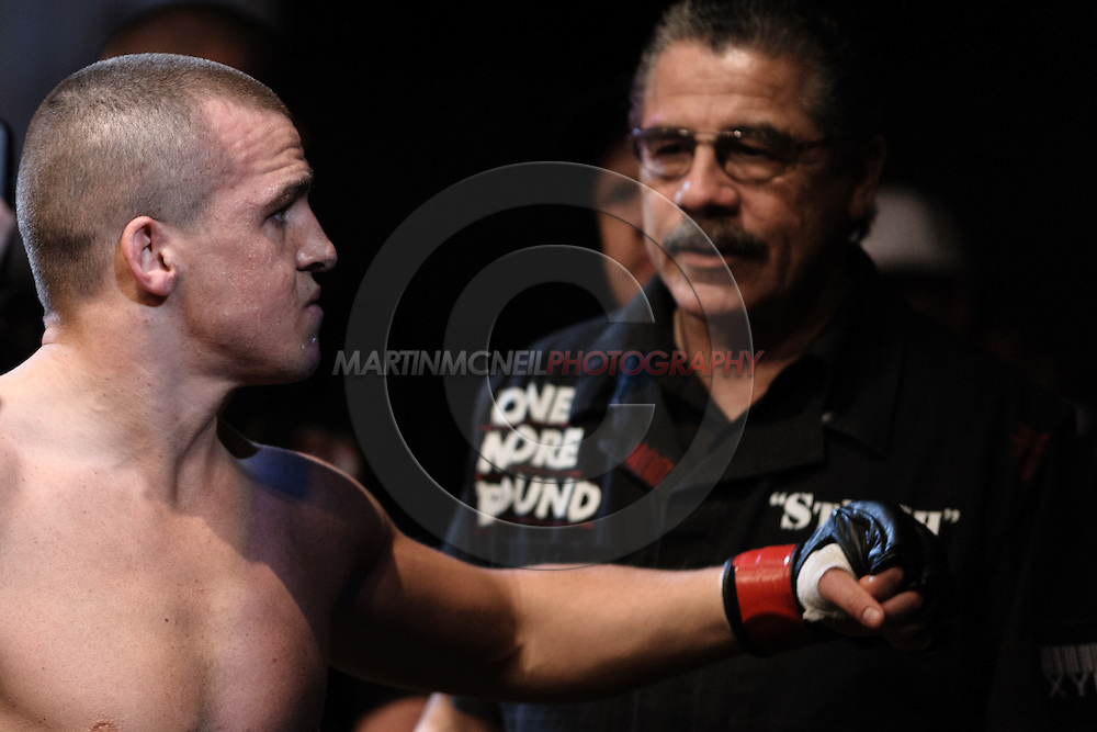 "LONDON, ENGLAND, FEBRUARY 21, 2009: Paul Kelly prepares to enter the octagon during ""UFC 95: Sanchez vs. Stevenson"" inside the O2 Arena in Greenwich, London."