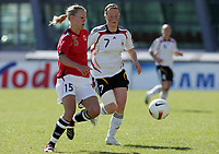 20080312: VILA REAL SANTO ANTONIO, PORTUGAL – Germany vs Norway during XV Algarve Women 's Football Cup, for 3rd / 4th places. In picture: Melanie Behringer (Germany) and Marita Lund (Norway). PHOTO: CITYFILES