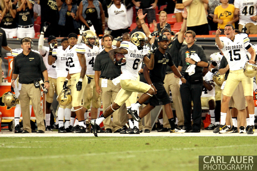 September 1st, 2013 - Colorado Buffaloes junior wide receiver Paul Richardson (6) runs down the sideline for a touchdown in the fourth quarter of the NCAA football game between the Colorado Buffaloes and the Colorado State Rams at Sports Authority Field in Denver, CO