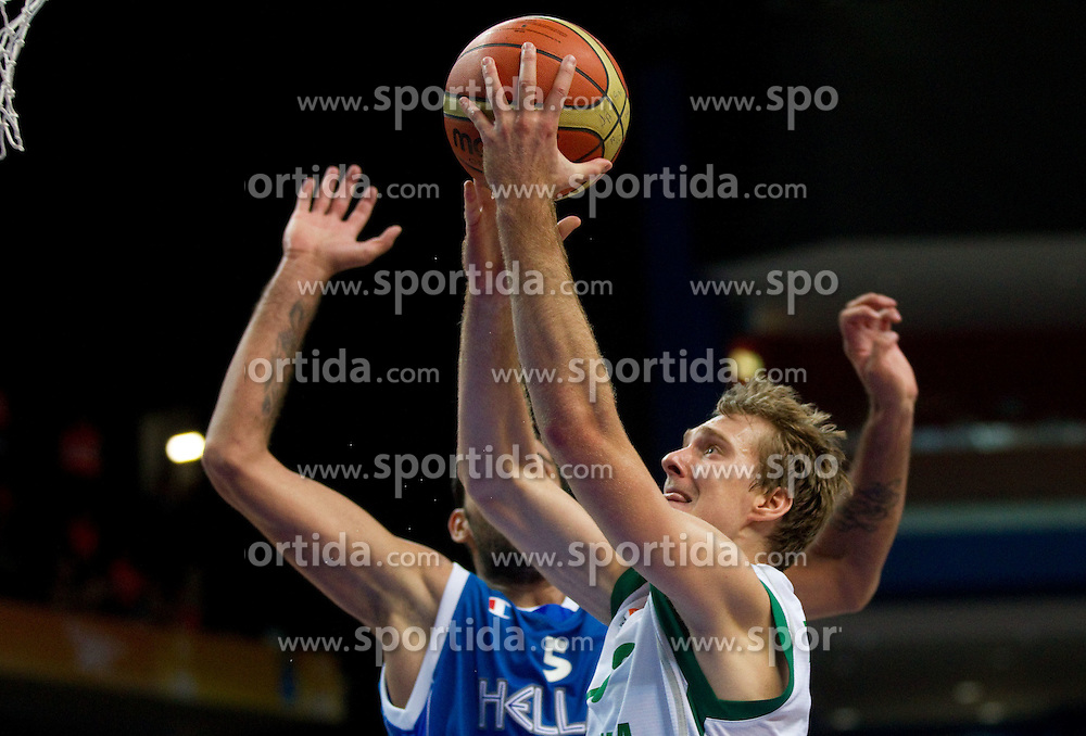 Zoran Dragic of Slovenia during basketball game between National basketball teams of Slovenia and Greece at FIBA Europe Eurobasket Lithuania 2011, on September 8, 2011, in Siemens Arena,  Vilnius, Lithuania. Greece defeated Slovenia 69-60.  (Photo by Vid Ponikvar / Sportida)