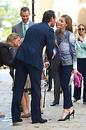 King Juan Carlos of Spain, Queen Sofia of spain, Princess Sofia of Spain, Princess Leonor of Spain, Prince Felipe of Spain, Princess Letizia of Spain and Princess Elena attend Easter Mass at the Cathedral of Palma de Mallorca on April 20, 2014 in Palma de Mallorca, Spain.