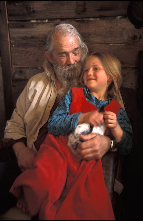 Papa Pilgrim at  Homestead.The Pilgrim Family.Alaska.USA