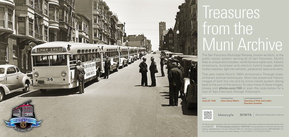 Opening of Polk and Larkin Gas Coaches | June 23, 1939  | Treasures from the Muni Archive at the SFO International Terminal