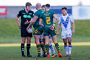 Referee Thomas Crashley shows a red card to Hunslet Club Parkside interchange Adam Biscomb (17)  and sends him off during the Ladbrokes Challenge Cup round 3 match between Hunslet Club Parkside and Workington Town at South Leeds Stadium, Leeds, United Kingdom on 24 February 2018. Picture by Simon Davies.