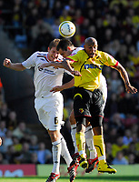 Photo: Leigh Quinnell.<br /> Watford v Hull City. Coca Cola Championship. 20/10/2007. Hulls Michael Turner and Richard Garcia, rise with Watfords Jordan Stewart.