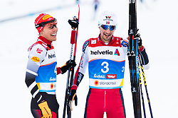 February 22, 2019 - Seefeld In Tirol, AUSTRIA - 190222 Franz-Josef Rehrl of Austria and Jan Schmid of Norway after competing in men's nordic combined 10 km Individual Gundersen during the FIS Nordic World Ski Championships on February 22, 2019 in Seefeld in Tirol..Photo: Joel Marklund / BILDBYRÃ…N / kod JM / 87882 (Credit Image: © Joel Marklund/Bildbyran via ZUMA Press)