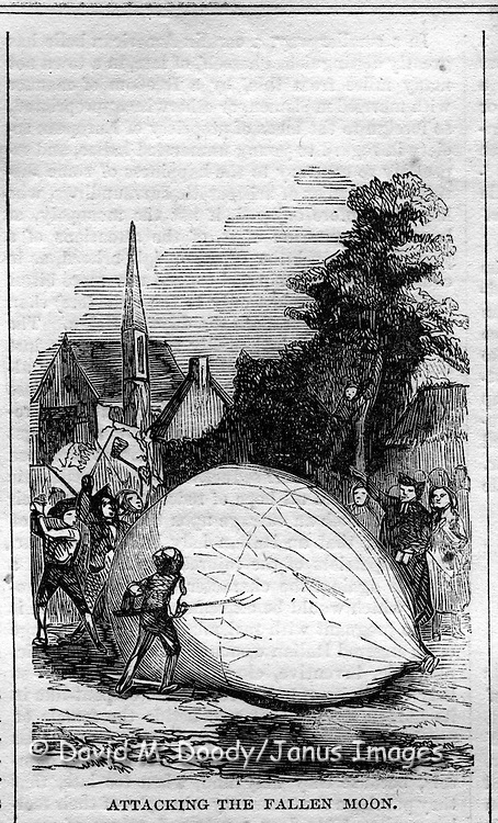 Peasants attacking a fallen balloon. Flying machines (balloons etc) from Harper's Weekly, July 25, 1857