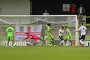 Bromley's Rob Swaine(5) draws a save from Forest Green Rovers Sam Russell(23) during the Vanarama National League match between Forest Green Rovers and Bromley FC at the New Lawn, Forest Green, United Kingdom on 17 September 2016. Photo by Shane Healey.