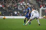 AFC Wimbledon defender & captain Barry Fuller (2) and Milton Keynes Dons midfielder Ben Reeves (10) during the EFL Sky Bet League 1 match between Milton Keynes Dons and AFC Wimbledon at Stadium MK, Milton Keynes, England on 10 December 2016. Photo by Stuart Butcher.
