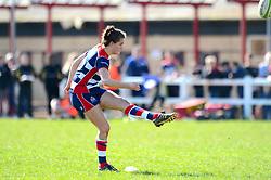 Lucy Attwood of Bristol Ladies kicks a conversion  - Mandatory by-line: Dougie Allward/JMP - 26/03/2017 - RUGBY - Cleve RFC - Bristol, England - Bristol Ladies v Wasps Ladies - RFU Women's Premiership