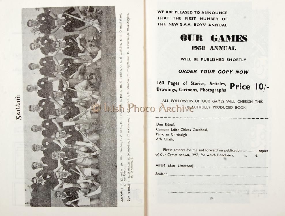 All Ireland Senior Hurling Championship Final,.07.09.1958, 09.07.1958, 7th September 1958,.Minor Galway v Limerick, .Senior Galway v Tipperary, Tipperary 4-09. Galway 2-05,..Galway,..Advertisement, GAA, Our Games 1958 Annual,