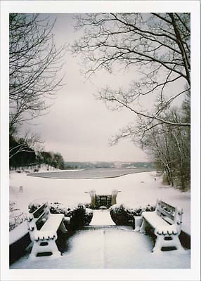 Signed and numbered 19x24 poster of Mirror Lake and benches in Eden Park during the winter hours with snow on the ground and an icy lake