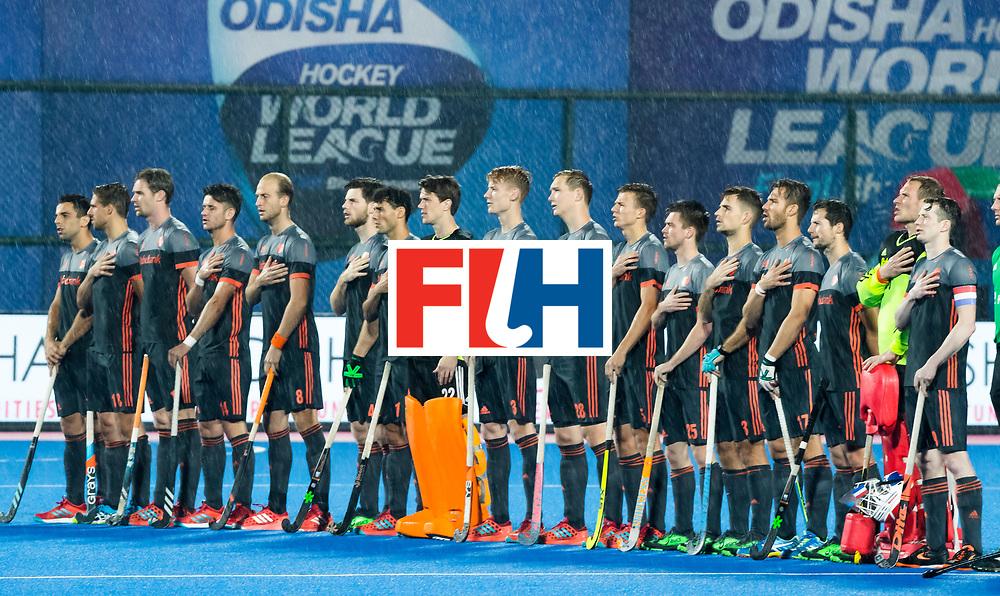 BHUBANESWAR - Line up Oranje  tijdens de Hockey World League Finals , de wedstrijd om de 7e plaats, Engeland-Nederland (0-1).   COPYRIGHT KOEN SUYK