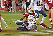 Los Angeles Chargers quarterback Cardale Jones (7) falls with the ball during an NFL football game, Thursday, Aug. 29, 2019, in Santa Clara, Calif. (Dylan Stewart/Image of Sport)