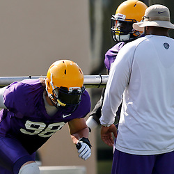 Aug 8, 2013; Baton Rouge, LA, USA; LSU Tigers defensive end Jordan Allen (98) during a fall practice at the McClendon Practice Facility. Mandatory Credit: Derick E. Hingle-USA TODAY Sports