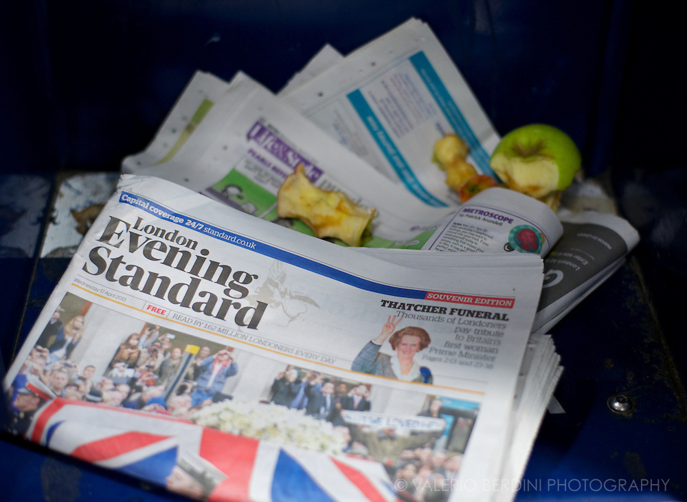 Apples leftovers, and the Evening Standard.