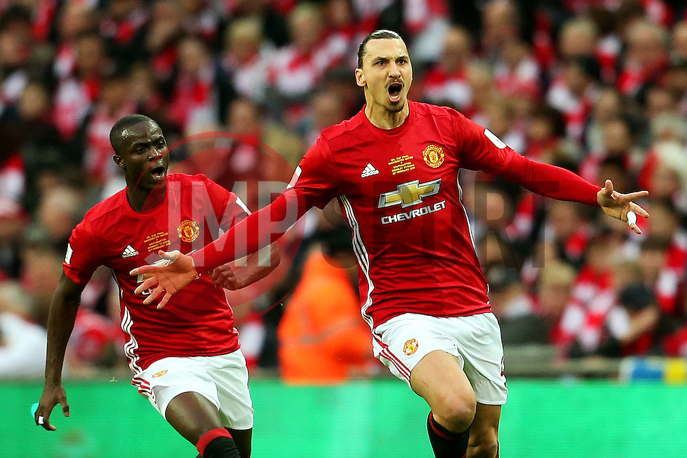 Zlatan Ibrahimovic of Manchester United celebrates after scoring his sides first goal   - Mandatory by-line: Matt McNulty/JMP - 26/02/2017 - FOOTBALL - Wembley Stadium - London, England - Manchester United v Southampton - EFL Cup Final