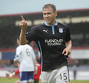 Greg Stewart celebrates after putting Dundee two ahead - Dundee v Peterhead, League Cup at Dens Park<br /> <br />  - &copy; David Young - www.davidyoungphoto.co.uk - email: davidyoungphoto@gmail.com