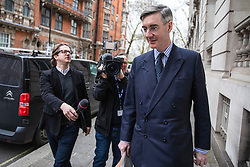 © Licensed to London News Pictures. 27/03/2019. London, UK. Brexit supporter Jacob Rees-Mogg, who has announced he may be able to support Prime Minister Theresa May's Brexit Deal, in Westminster. MPs will hold a series of indicative votes on different Brexit options this evening. Photo credit: Rob Pinney/LNP