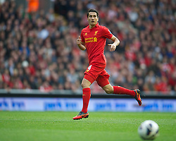LIVERPOOL, ENGLAND - Saturday, October 20, 2012: Liverpool's Nuri Sahin in action against Reading during the Premiership match at Anfield. (Pic by David Rawcliffe/Propaganda)