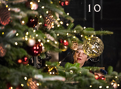© Licensed to London News Pictures. 06/12/2017. London, UK. Prime Minister Theresa May looks up at the Downing Street Christmas tree after switching on the lights. Photo credit: Peter Macdiarmid/LNP