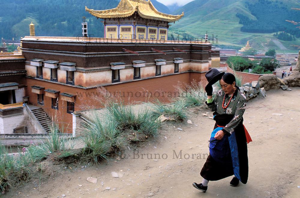 Chine. Province du Gansu. Xiahe. Monastere tibétain de Labrang. Pelerins tibétain. // China. Gansu Province. Xiahe. Labrang tibetan monastery (Labuleng Si). Tibetan pelgrins.
