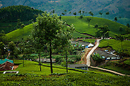 India, Kerala. Beautiful tea pickers' village situated among tea plantations of Munnar.