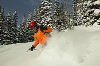 Russell Laman (age 12) skiing fresh powder at Jackson Hole, Wyoming