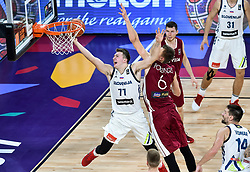 Luka Doncic of Slovenia vs Kristaps Porzingis of Latvia during basketball match between National Teams of Slovenia and Latvia at Day 13 in Round of 16 of the FIBA EuroBasket 2017 at Sinan Erdem Dome in Istanbul, Turkey on September 12, 2017. Photo by Vid Ponikvar / Sportida