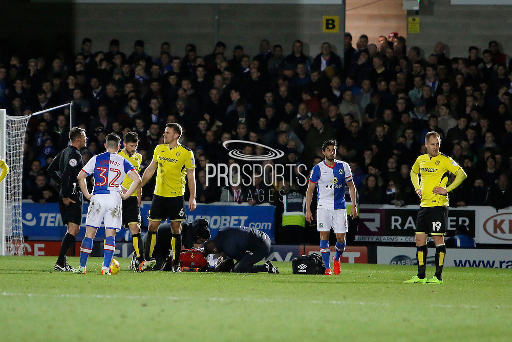 Blackburn Rovers defender Ryan Nyambe (24) down with an injury during the EFL Sky Bet Championship match between Burton Albion and Blackburn Rovers at the Pirelli Stadium, Burton upon Trent, England on 24 February 2017. Photo by Richard Holmes.
