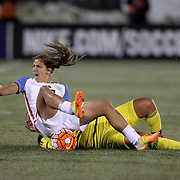 Tobin Heath, USA, is fouled by Orianica Velasquez, Colombia, during the USA Vs Colombia, Women's International friendly football match at the Pratt & Whitney Stadium, East Hartford, Connecticut, USA. 6th April 2016. Photo Tim Clayton