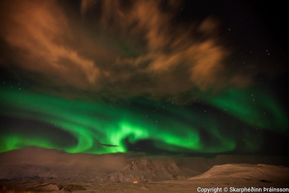Night display over mountain Esja, southwest Iceland