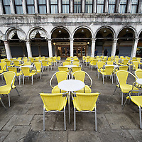 VENICE, ITALY - DECEMBER 02:  A general winter view of the tables in St Mark's Square at Caffe Lavena on December 2, 2011 in Venice, Italy.The Venetian coffee houses have a  long standing history, established at the beginning of 1700 around St. Mark Square have been the centre of cultural meeting and innovations for centuries and served customers like Dickens, Goethe, Casanova and Lord Byron. San Marco is one of the six sestieri of Venice, lying in the heart of the city.