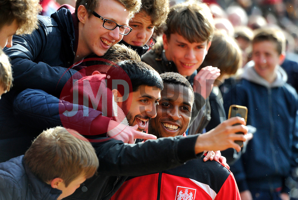 Jonathan Kodjia of Bristol City poses for a selfie with fans  - Mandatory by-line: Joe Meredith/JMP - 30/04/2016 - FOOTBALL - Ashton Gate Stadium - Bristol, England - Bristol City v Huddersfield Town - Sky Bet Championship