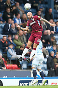 Aston Villa defender Alan Hutton (21) heads clear during the EFL Sky Bet Championship match between Blackburn Rovers and Aston Villa at Ewood Park, Blackburn, England on 15 September 2018.