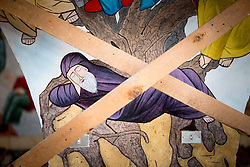 17 December 2016, Cairo, Egypt: Wall painting in the Resurrection Church, at the Anaphora Institute, a Coptic Orthodox retreat and educational centre located north-west of Cairo.