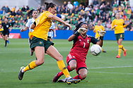 MELBOURNE, VIC - MARCH 06: Vanina Correa (1) of Argentina runs for the ball during The Cup of Nations womens soccer match between Australia and Argentina on March 06, 2019 at AAMI Park, VIC. (Photo by Speed Media/Icon Sportswire)