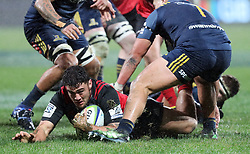 Crusaders Codie Taylor gies to ground a the Highlanders in the Super Rugby quarter final match, AMI Stadium, Christchurch, New Zealand, July 22 2017.  Credit:SNPA / Adam Binns ** NO ARCHIVING**