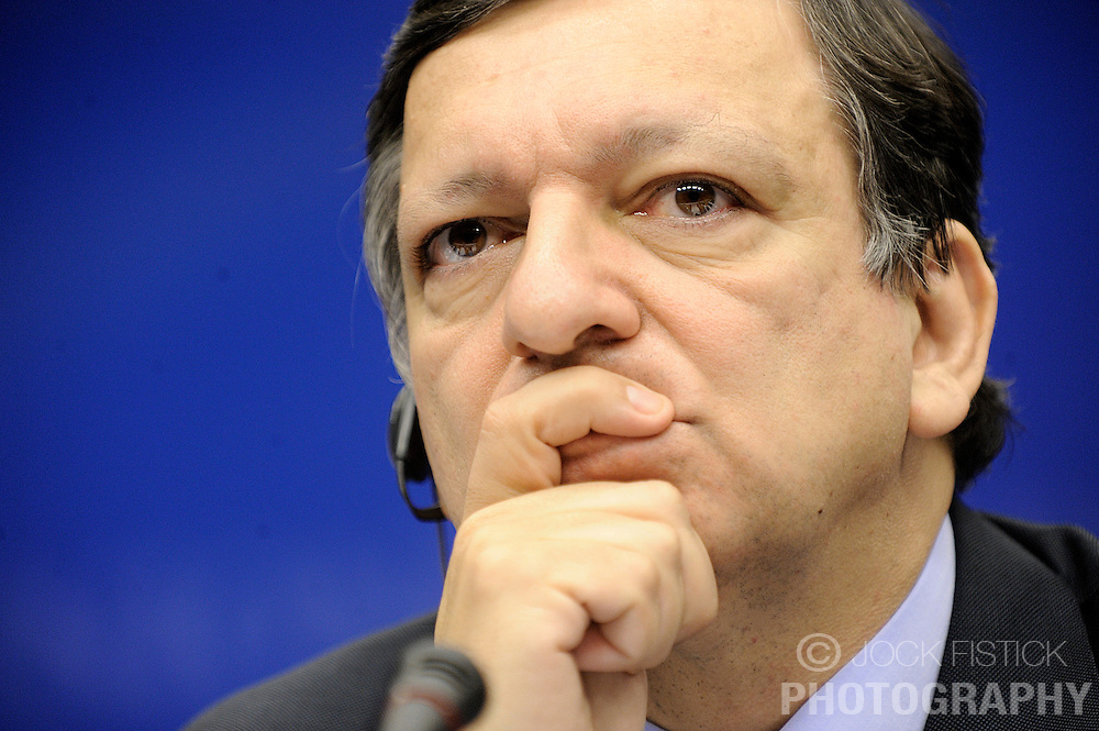 Jose Manuel, Barroso, president of the European Commission, speaks during a news conference following the European Union summit at EU headquarters in Brussels, Belgium, on Sunday, March. 1, 2009. .(Photo © Jock Fistick)