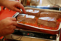 "Lenotre Ecole Culinaire, Paris,..short course - ""Return to the Market"" with Chef Jacky Legras..taking the temperature of the tuna, to make sure it is rare..photo by Owen Franken for the NY Times..July 12, 2007......."