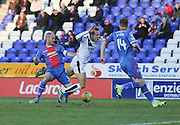 Inverness' David Raven downs Dundee's Greg Stewart to concede a penalty - Inverness Caledonian Thistle v Dundee at Caledonian Stadium, Inverness<br /> <br />  - © David Young - www.davidyoungphoto.co.uk - email: davidyoungphoto@gmail.com